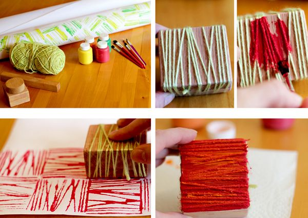 diy yarn block prints
