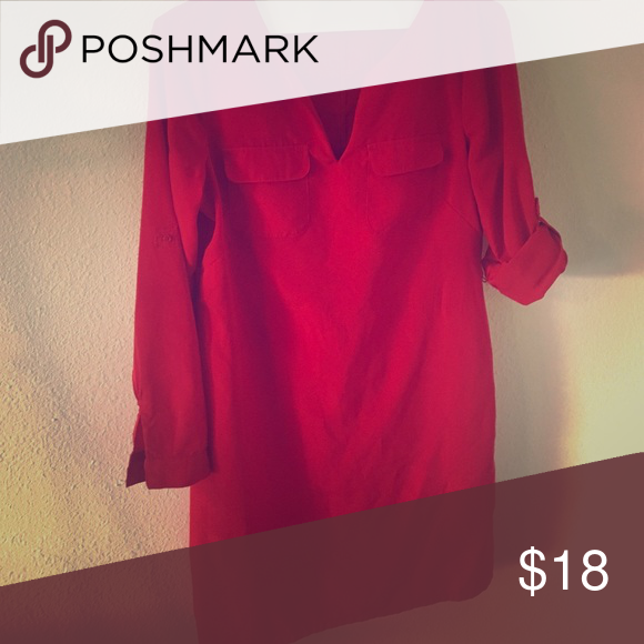 Red shirt dress Perfect for work or a casual day. Excellent condition. I also have the same dress in a small black - not listed but wiling to sell, open to bundles! Old Navy Dresses Long Sleeve
