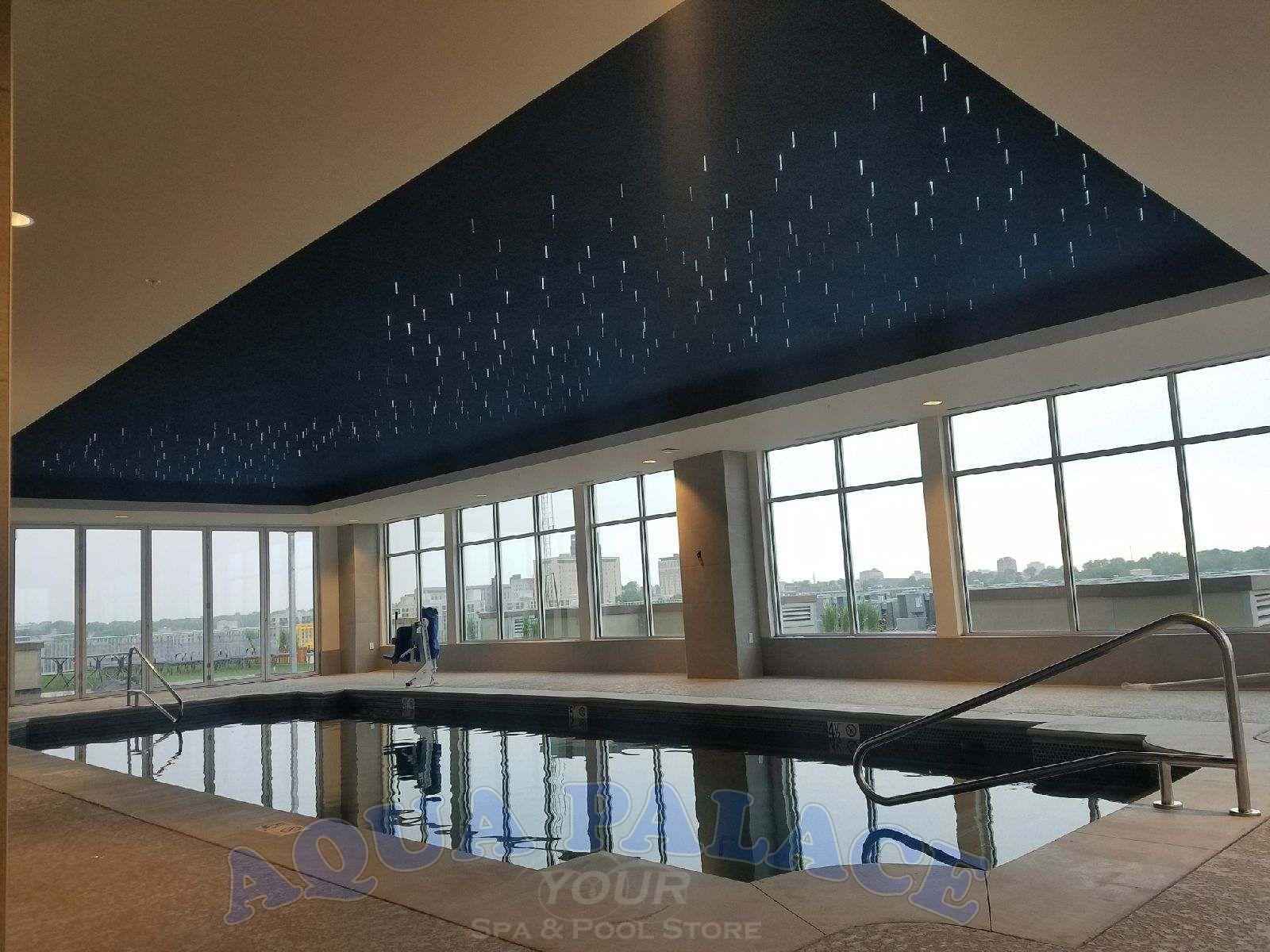 Atlas Apartments In Downtown Omaha Ne Fiberglass Pool On 8th Floor 16 X 44 Pool With Dual Staircases Custo Pool Designs Pool Builders Custom Pool Tables