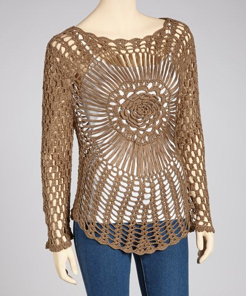 Channel that inner boho-chic charm with a sheer top flaunting an intricately crafted flower crochet design. Lightweight and easy-to-wear, the pure-cotton construction adds softness to this captivating style. Camisole not includedFits sizes 0 to 12Measurements: 29'' long from high point of shoulder to hem