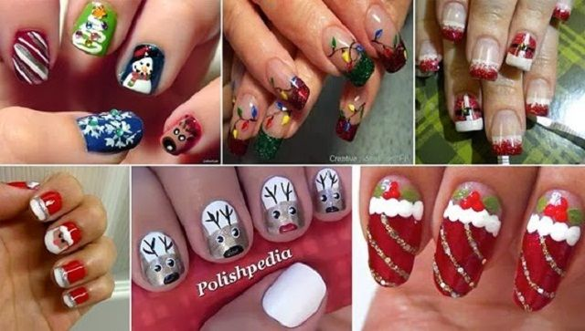 Learn How To Make Christmas Themed Nail Art Paznokcie Pinterest