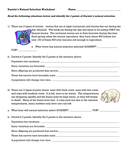 Darwin S Natural Selection Worksheet