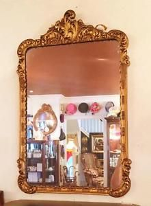 Antique Ornate Rectangular Gold Gilt Mirror (Condition Noted)