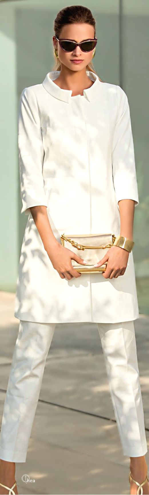 all white summer style fashion Pretty woman in white with dark