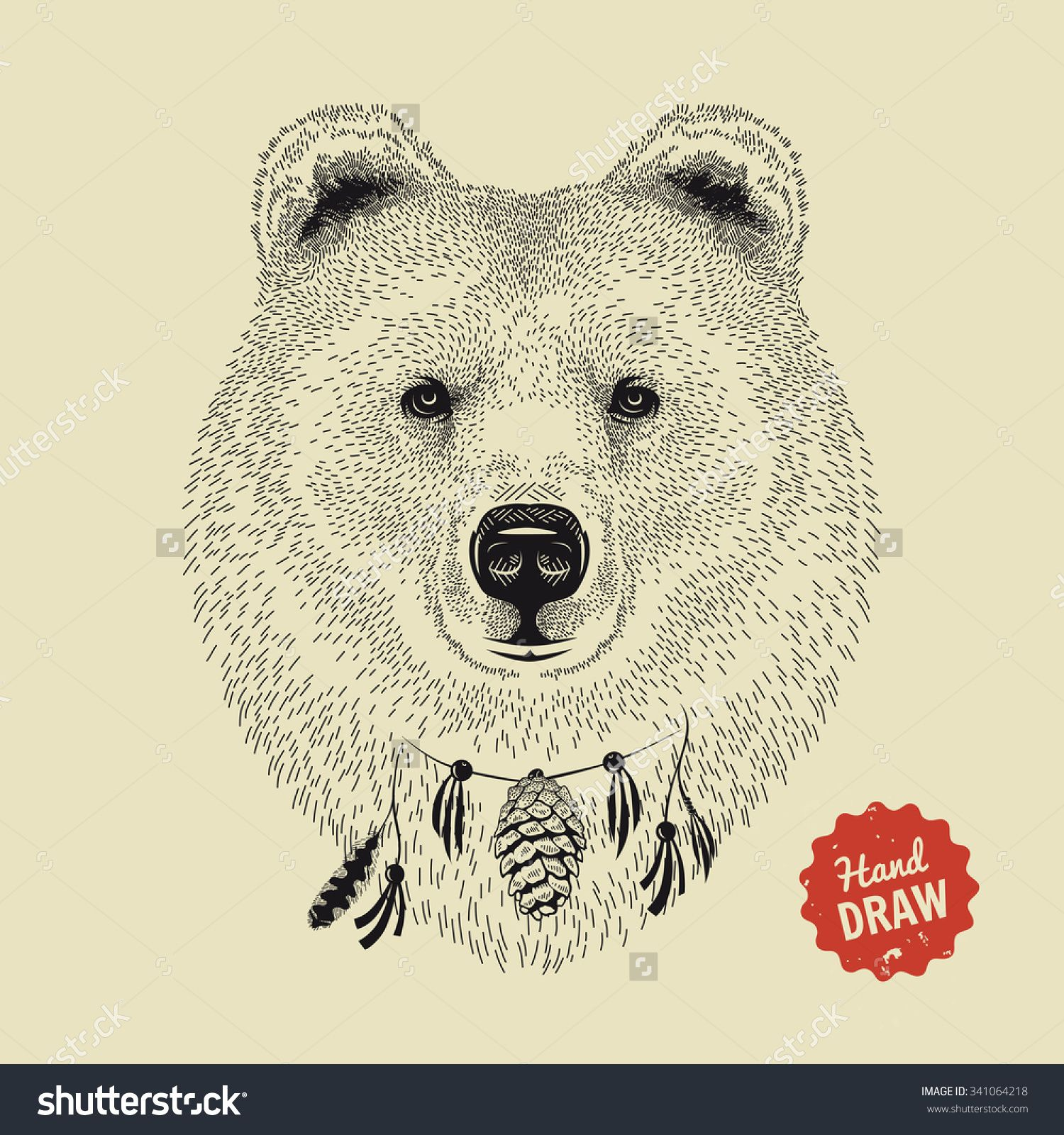 Vector Sketch Of A Bears Face Bear Head Front View Hand