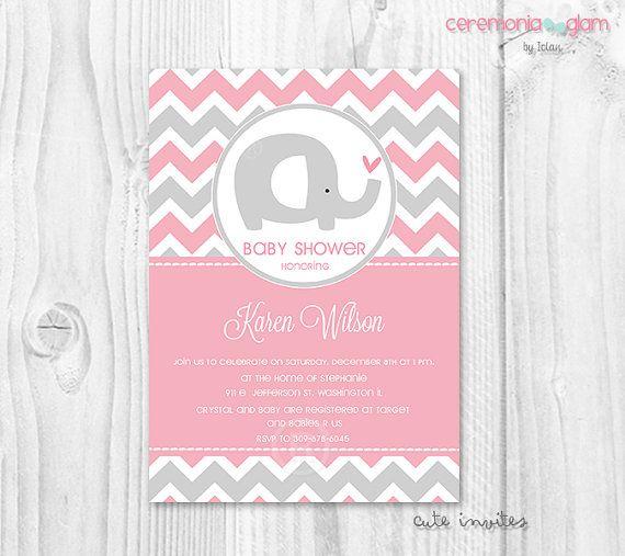 girl baby shower invitation elephant pink and grey chevron