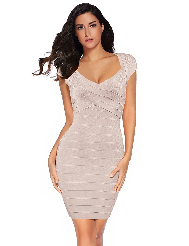 meilun Womens Bandage Dress Square Neck Bodycon Party Dress