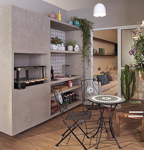 10 varandas gourmet ou varandinhas para um churrasco for Cocinas modernas apartamentos pequenos