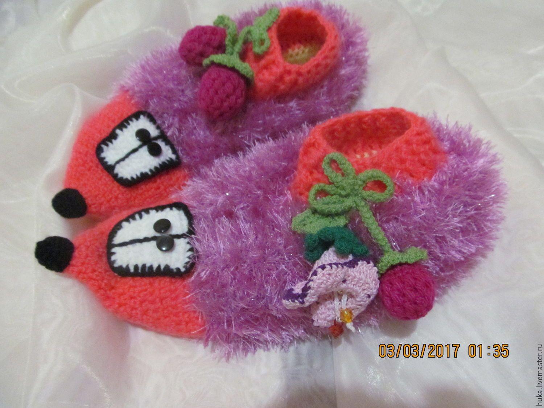 Купить Вязанная обувь .ЁЖИКИ . - комбинированный, вязанные крючком, теплые, классные, уютные, домашние, пушистые