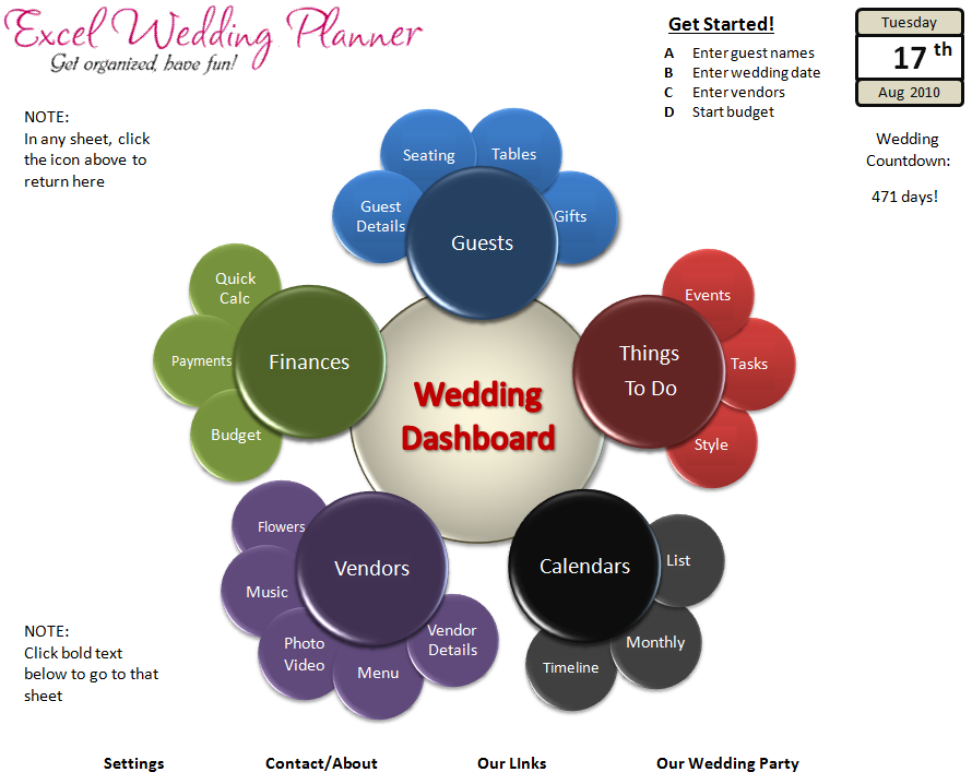 excel wedding planner