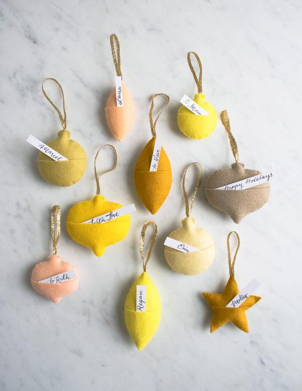 The Purl Bee's felt ornament gift tags free pattern, from Purl Soho.