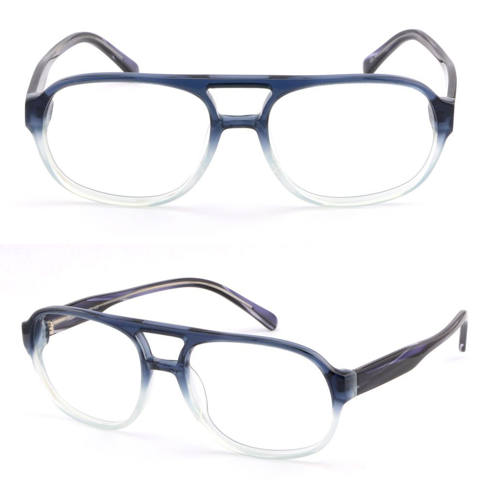06d1929b99 Large Men Women Double Bridge Acetate Frame Prescription Glasses Sunglasses  Blue  Unbranded