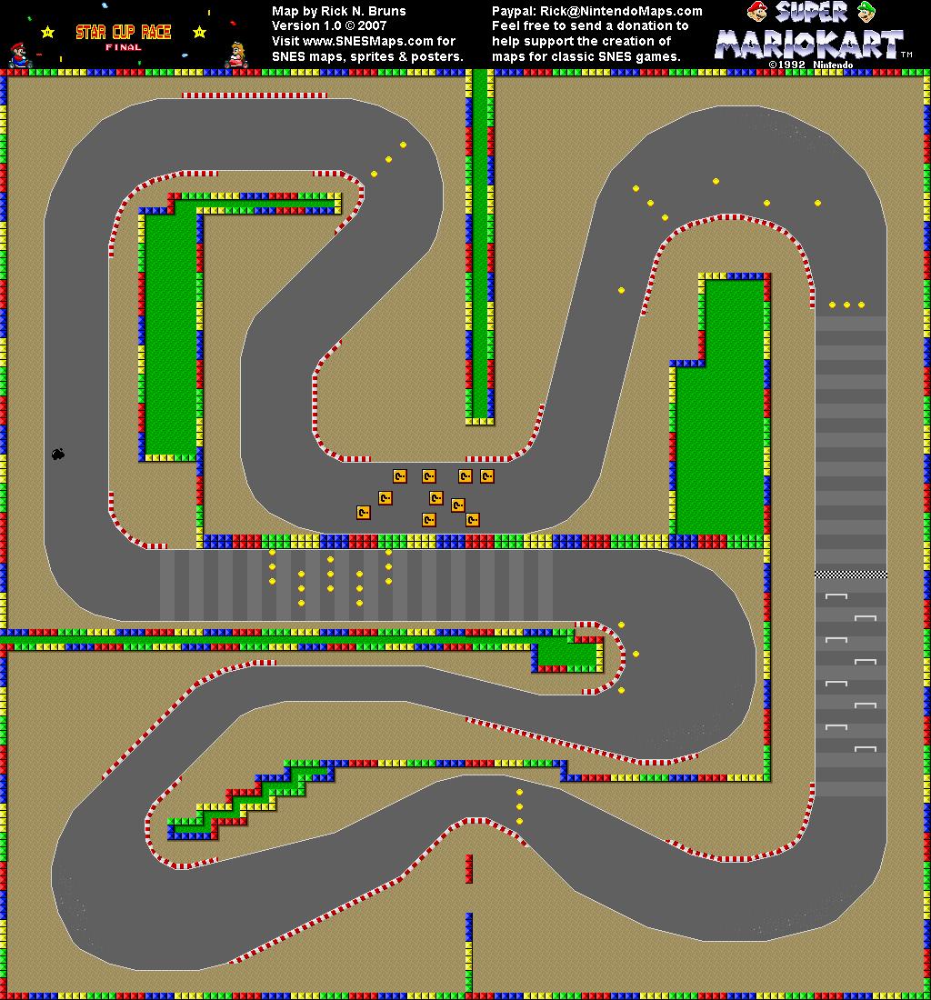 Super Mario Kart Mario Circuit 4 Map Snes Super Mario Kart