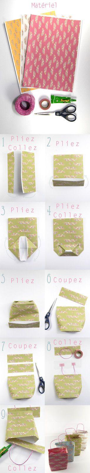 tuto comment faire des petits sacs en papier verpackungswunder pinterest geschenke. Black Bedroom Furniture Sets. Home Design Ideas