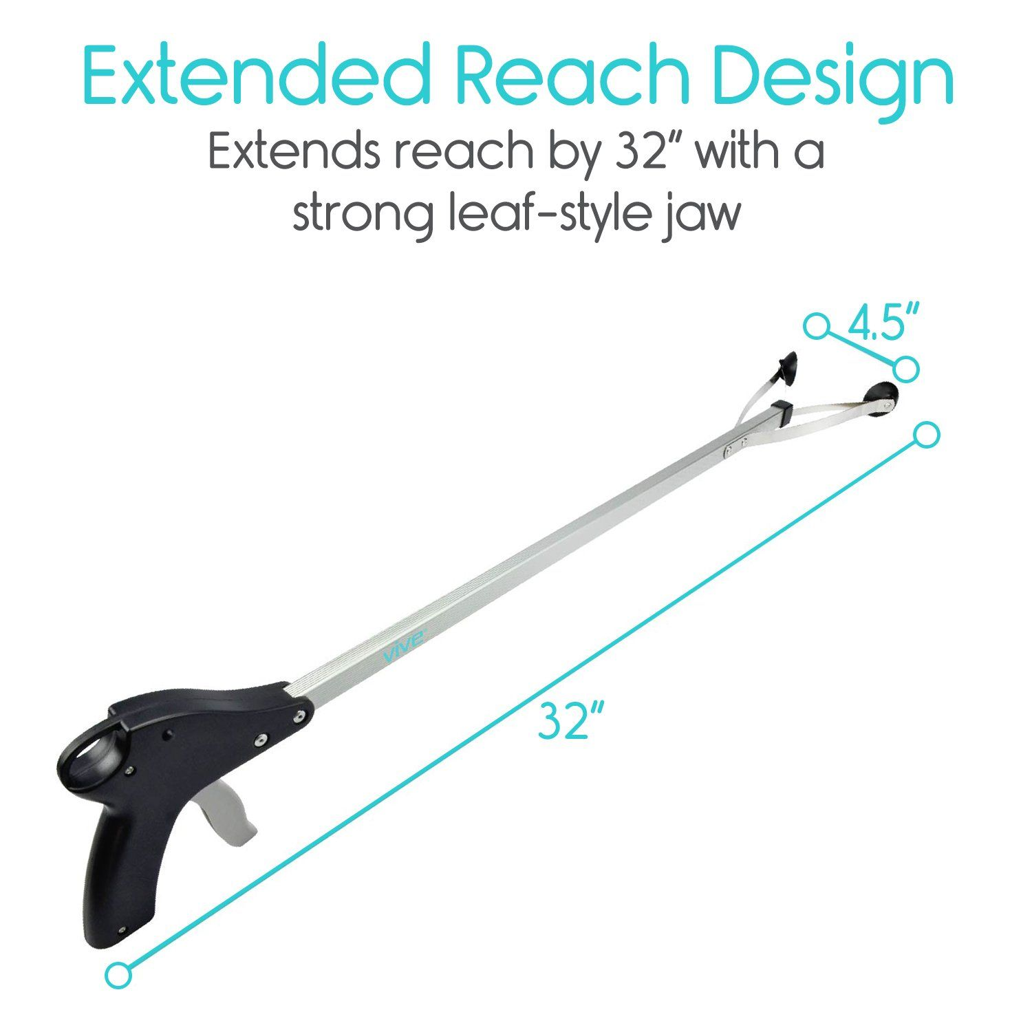 Suction Cup Reacher Grabber By Vive 32 Heavy Duty Mobility Grip