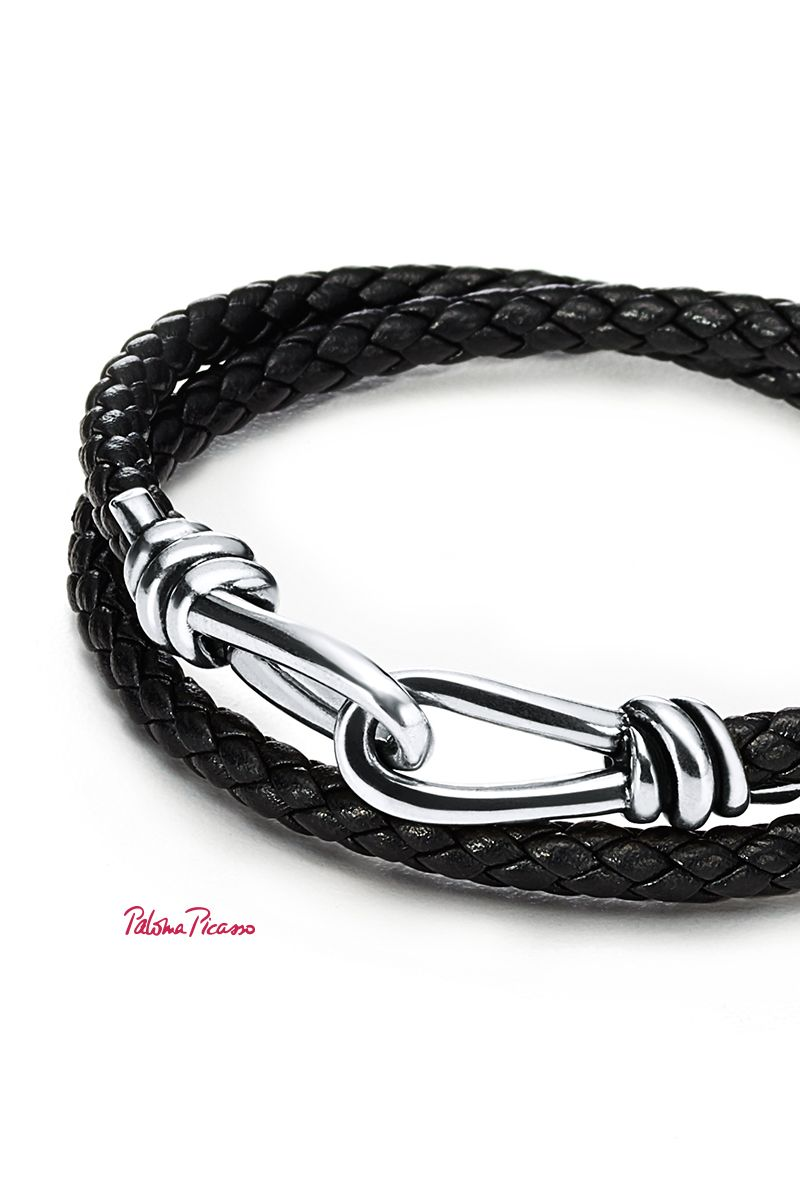 Paloma Picasso Knot double braid wrap bracelet of leather and silver - Size EXTRA LARGE Tiffany & Co.