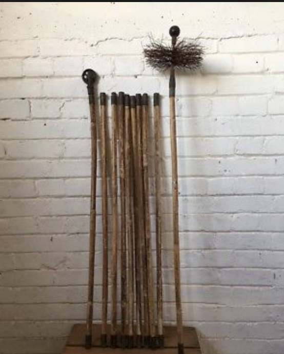 Antique Set Of Chimney Sweep Brass End Rods Brush Lucky Film Prop