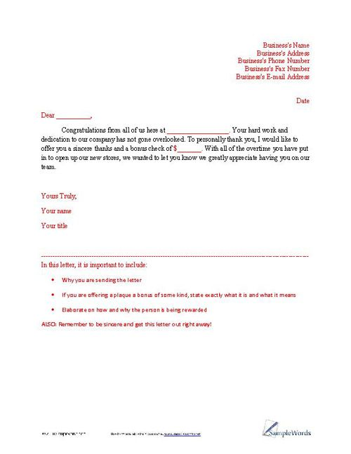 Letter Of Appreciation Sample  Appreciation Business Letter And