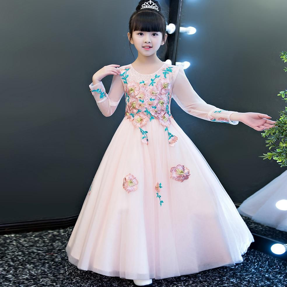 10b01dab61ed European Luxury Elegant Children Girls Fashion Embroidery Flowers Birthday  Wedding Party Long Dress Kids Ball Gown