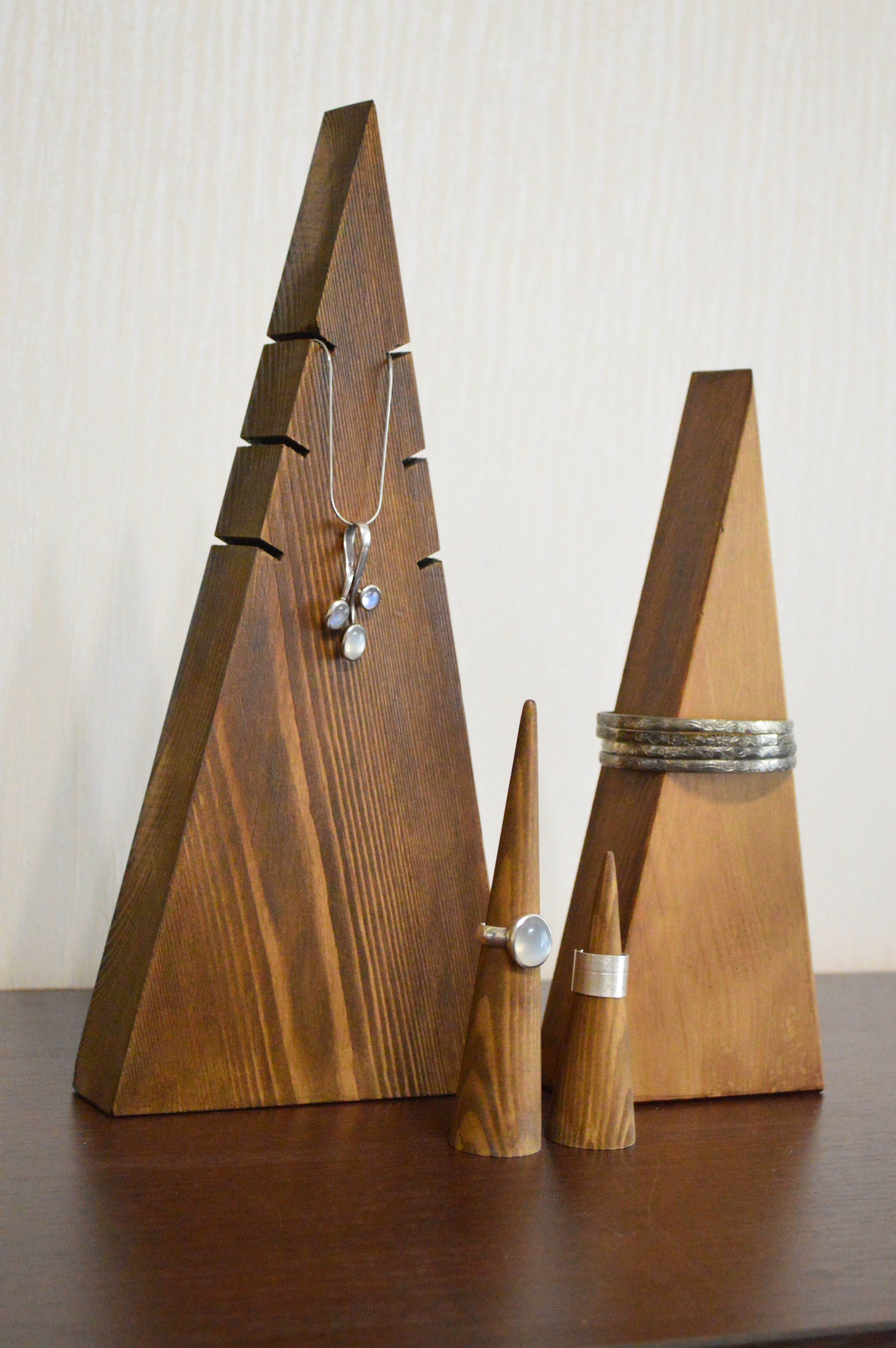 Wooden Jewelry Organizer, Jewelry Display Triangles, Jewelry Display Cones, Jewelry