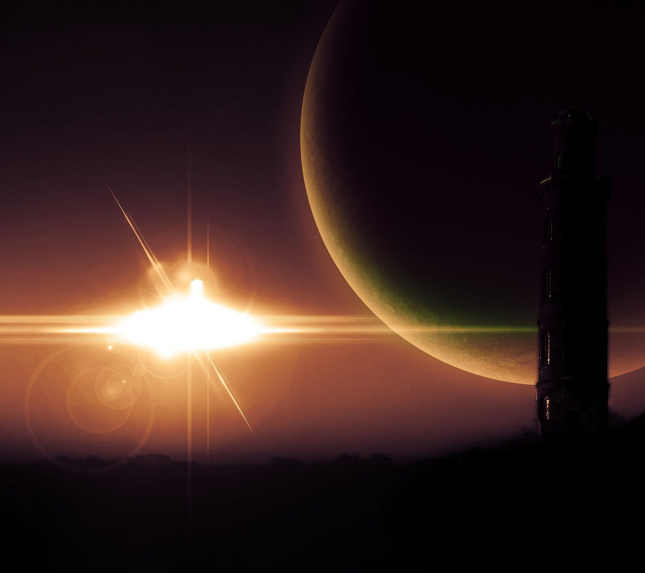 star tower silhouetted planet galaxy space android wallpaper mobile9