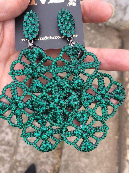 d3fd830dbc0 Brinco renda MAXI cristal verde esmeralda Acessorios Femininos Colar