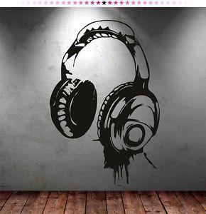 Headphones Music Dj Wall Stickers Wall Art Decal Stickers Ebay Wandkunst Schlafzimmer Graffiti Fur Die Wohnung Musik Schlafzimmer