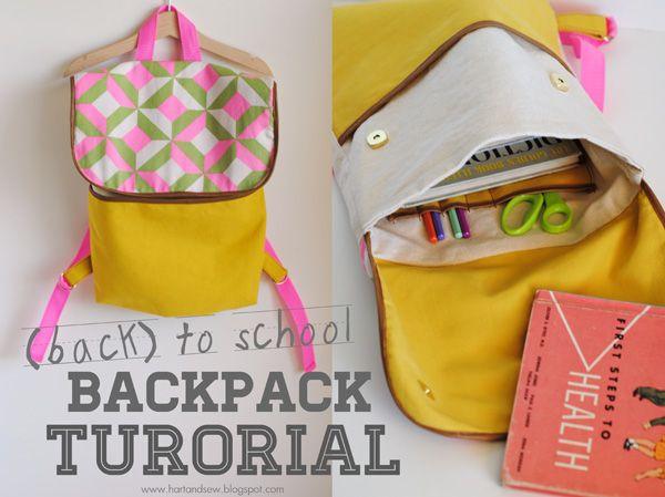 DIY backpack tutorial -so cute!