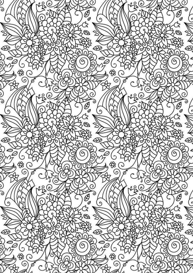 Floral Zen Coloring Zen Doodle Coloring Page Flowers Doodle Etsy In 2020 Doodle Coloring Zen Colors Coloring Pages