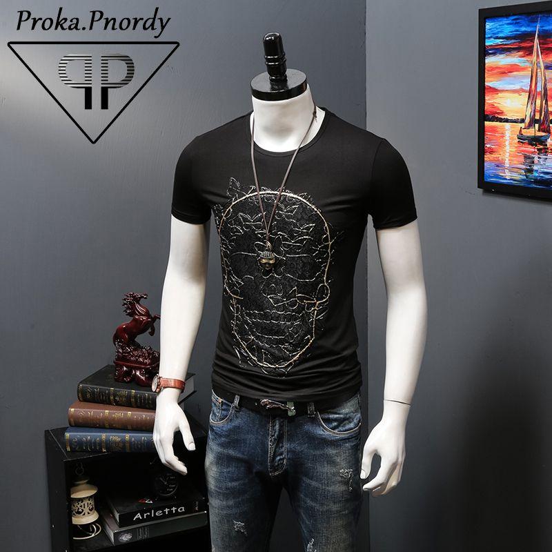 Proka Pnordy Brand T Shirts Men's Fashion Skulls Print Crossfit T-Shirts Men Hip Hop Short Sleeve Tops Male Camisa Masculina  #Affiliate