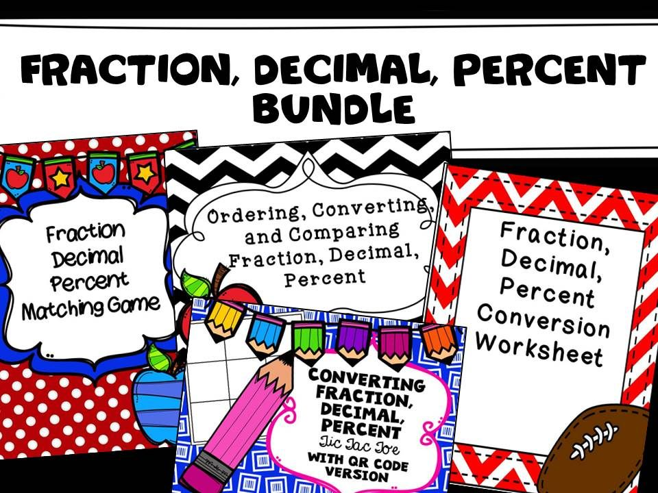Fraction, Decimal, Percent Activity Bundle Tic tac toe board, Toe