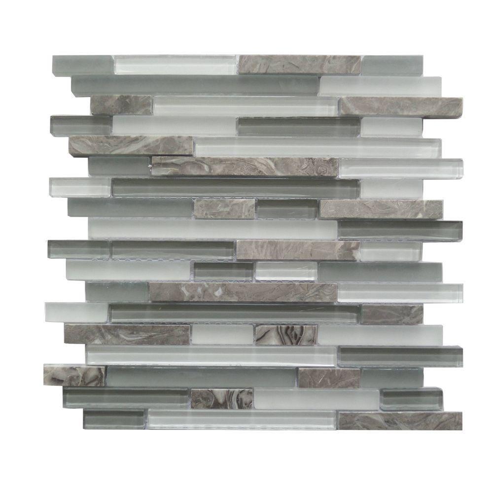 12 In X 12 In X 8 Mm Glass Stone Interlocking Mosaic Wall Tile