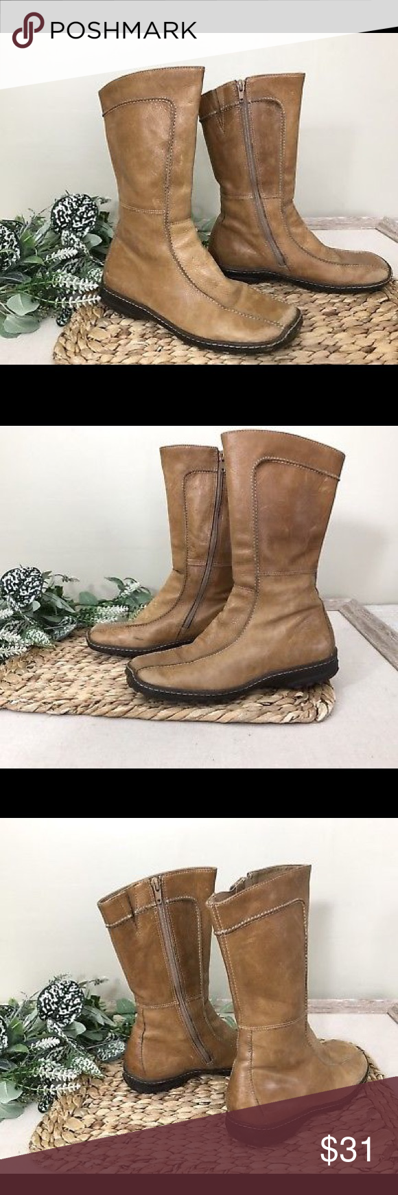 679d7084f6f Steve Madden Tan Leather Mid Calf Boots sz 8 Women s Steve Madden Boots Size  8B Shaft Height 9 1 2 inches Inside zip Rubber low wedge sole Contrast ...