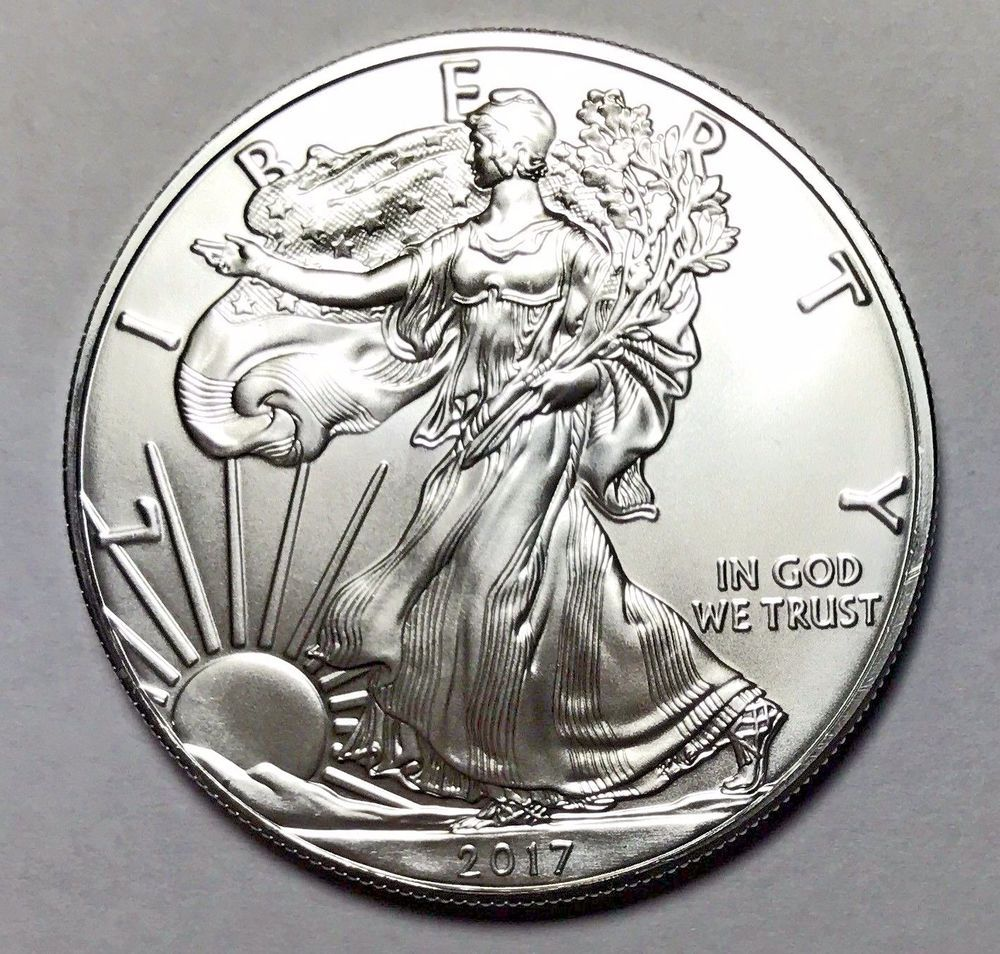 Great Deal 2017 Silver American Eagle 1 Oz 999 Fine One Dollar Brilliant Unc Rare Coins Coins Coin Collectors