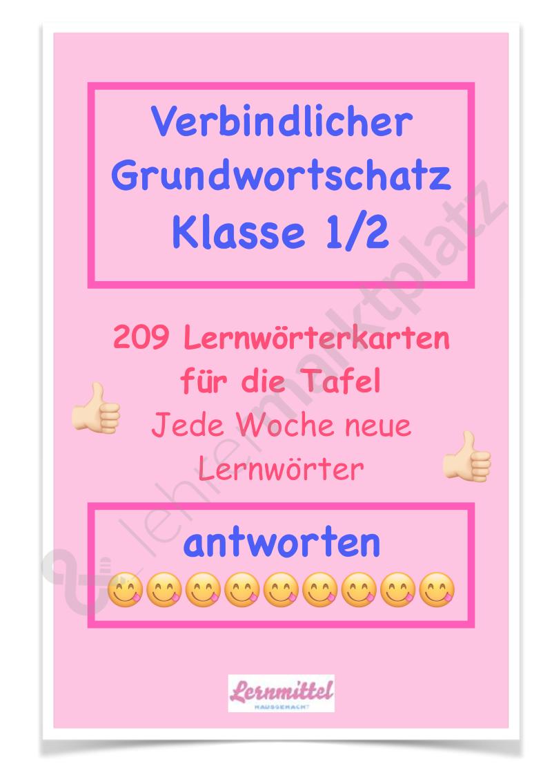 Verbindlicher Grundwortschatz Klasse 1/2 Lernwörter Tafelkarten ...