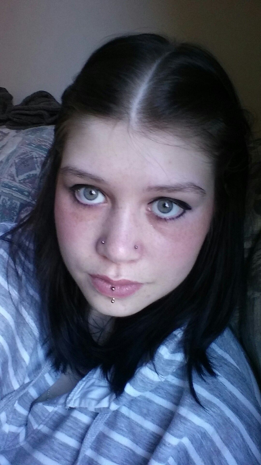Double nose piercing  Double Nose Piercing and Vertical Labret  rods and rings