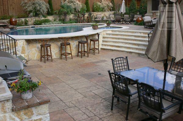 Multi-Level Pool Decks   Tuscan multi-level pool deck ...