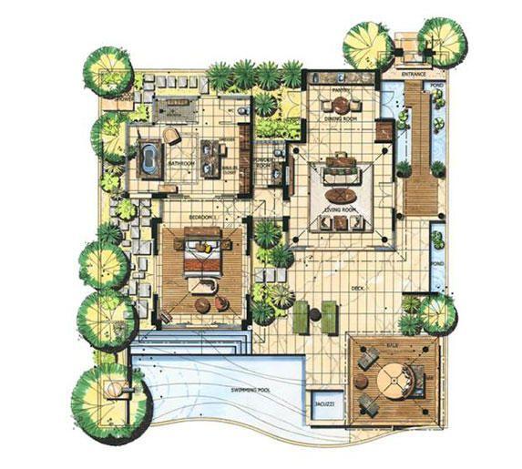 Bt Ungasan Pool Villa Garden View Bthr Floorplan Jpg 573 515 Denah Rumah Indonesia Rumah