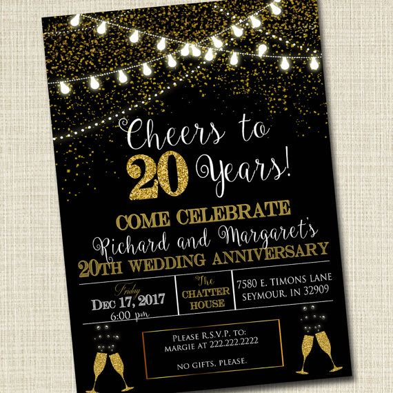 CUSTOM Adult Party Invitation Birthday Printable Cheers To Twenty Years Digital 20th Wedding Anniversary Invite Black Gold Decor