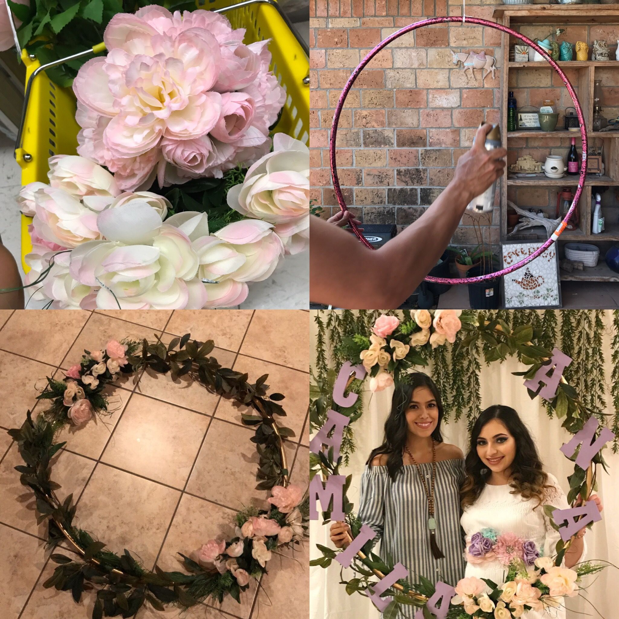 bridal shower themes for spring%0A DIY Photo Wreath  A cute and different idea for photo frames for parties   baby showers  bridal showers  etc  Things you u    ll need  Hula hoop Spray  paint