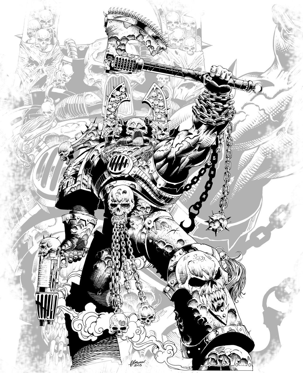 Kharn The Betrayer Alexander Khromov On Artstation At Https Www Artstation Com Artwork 9a3pv In 2020 Warhammer 40k Artwork Warhammer 40k Art Artwork