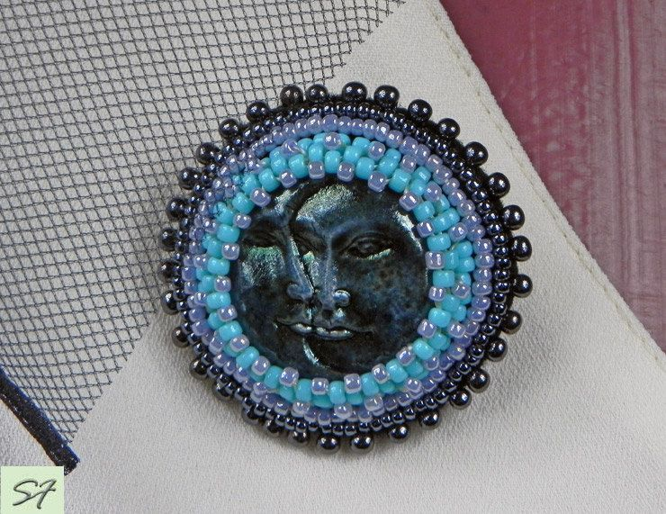 Statement brooch embroidered beads, black blue round brooch, moon sun cab polymer clay, Beaded brooch, Embroidery jewelry, Gift her women by Galabeadjewelery on Etsy