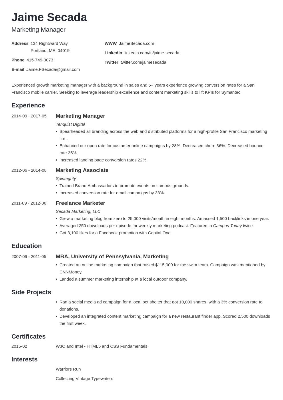 Marketing Resume Template Minimo Marketing Resume Resume Examples Job Resume Examples