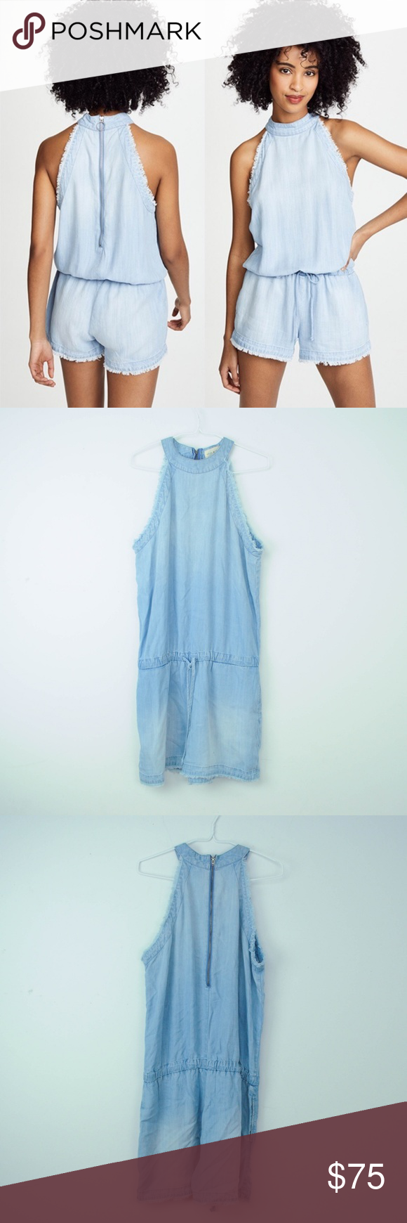 8a812b2b512 NEW Cloth   Stone Anthropologie Denim Romper Fray NEW  198 Cloth   Stone  Anthropologie Romper Sz L Denim Frayed High Neck Blue L17 Description - new  without ...
