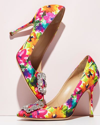 """Only at NM: Only Here. Only Ours. Exclusively for You. Manolo Blahnik """"Hangisi"""" floral-print fabric pump. 4.2"""" covered heel. Pointed toe. Crystal buckle detail. Topstitched collar. Slip-on style. Leat"""