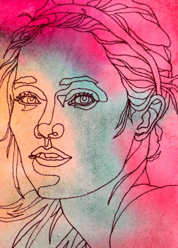 Continuous Line Drawing Of A Face : After her workout an original artwork ink drawing on