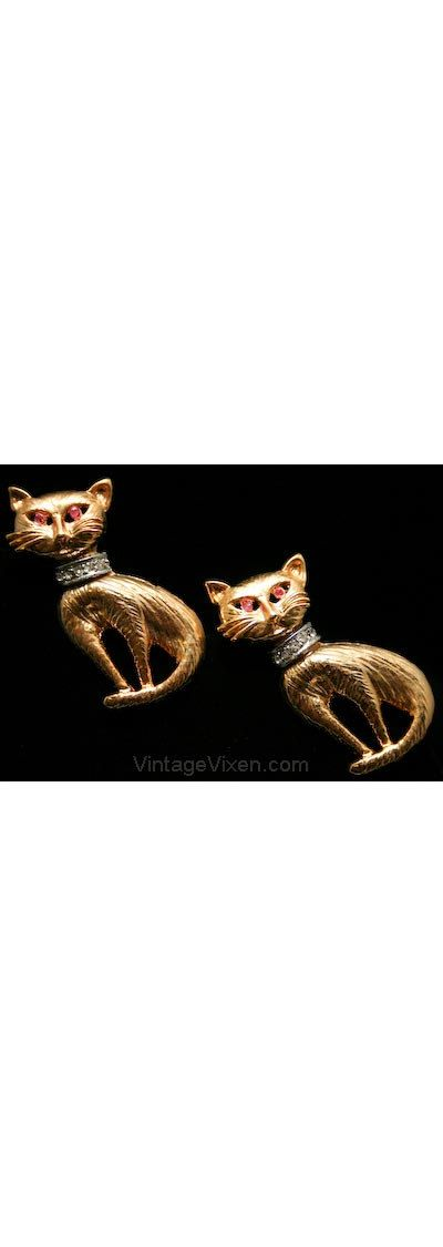 Pins & Brooches Two Kitty Cat Silver Tone Brooches Fashion Jewelry