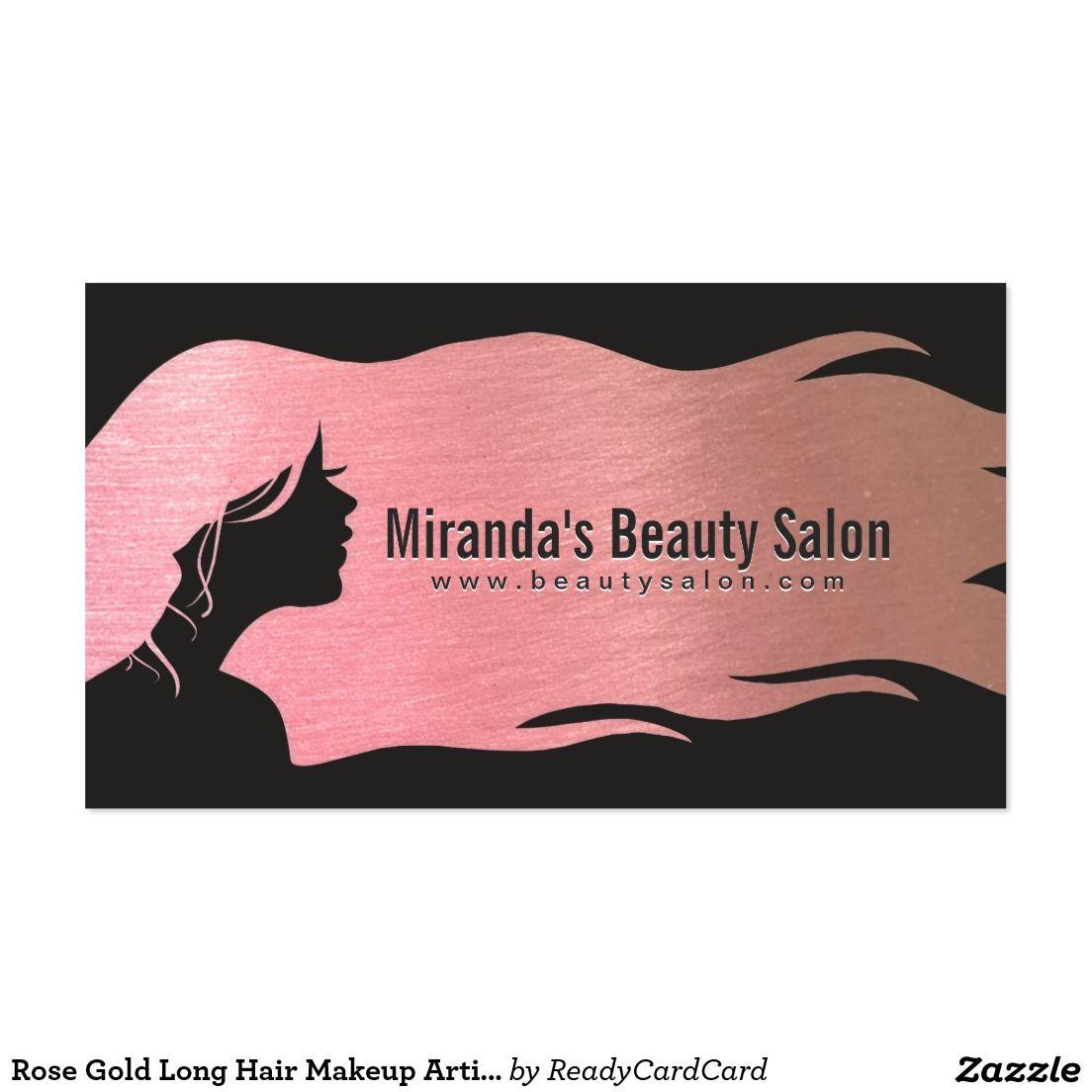 Rose Gold Long Hair Makeup Artist Hair Stylist Business Card ...
