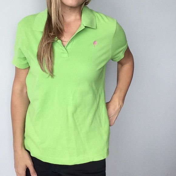 FINAL PRICELilly Pulitzer green polo shirt Lilly Pulitzer green polo shirt Pre-owned- great condition, no holes or stains. Made of 95% cotton/ 5% spandex. Size medium Measurements:  Underarm to underarm flat across is approximately 19 inches. Back of neck to bottom of hem is approximately 22 inches. Lilly Pulitzer Tops