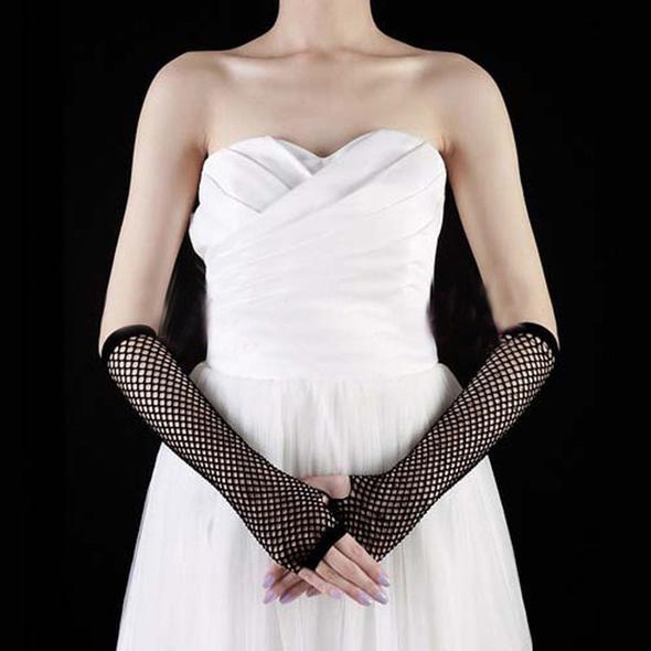 lady fishnet dance party ELBOW Length Fingerless Glove